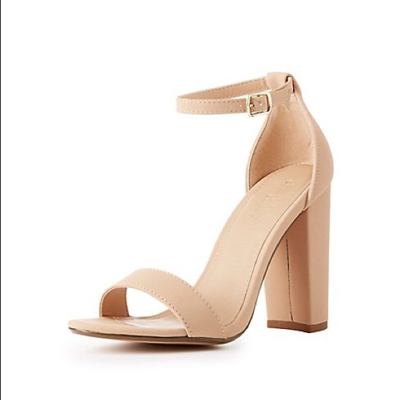 bc5b8c302b7f Charlotte Russe Shoes - ✨EUC! Becca in Nude Ankle Strap Block Heels